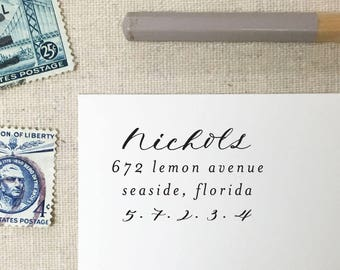 Script Return Address Stamp. Self-Inking Stamp. Return Address Stamp. Wooden Mailing Stamp. Self-Inking Address Stamp. Style 79