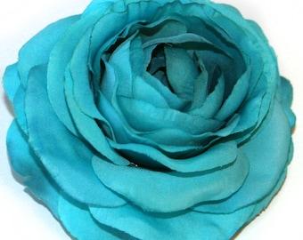 1 Turquoise Bontanical Silk Ranunculus - Artificial Flowers, Silk Flower Heads - PRE-ORDER