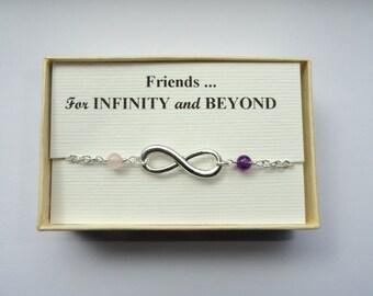 Choose your stone infinity bracelet, Friendship gift, Infinity bracelet, Silver infinity bracelet, Bridesmaids gifts, Infinity jewelry