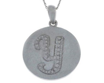 Initial Letter Y Pendant .925 Sterling Silver Rhodium Finish