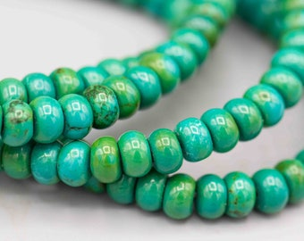 Blue Green Turquoise Beads Rondelle Gemstone Beads 100 - 4x6mm SKU-TUR-8