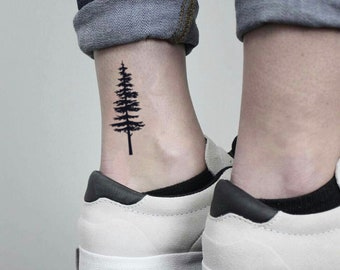 Pine Tree Temporary Fake Tattoo Sticker (Set of 2)