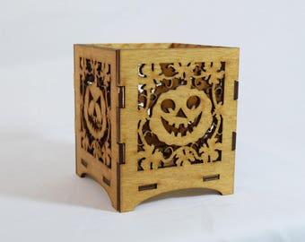 Pumpkin laser cut wooden tealight holder