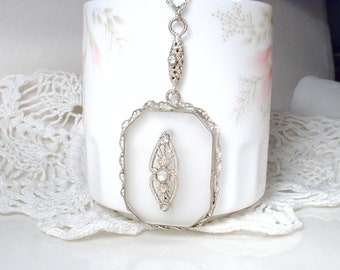 ANTIQUE 1910 Art Nouveau Camphor Glass Necklace, Art Deco Filigree 800 Silver Rhinestone Bridal Pendant, Downton Edwardian Vintage Wedding
