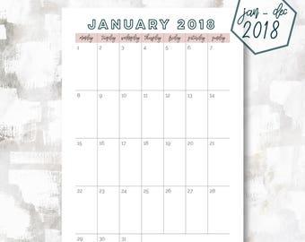 The 1 Page Calendar, Monday Start | January - December 2018 | Half Letter Size | Printable Planner | Printable Calendar | OG Style