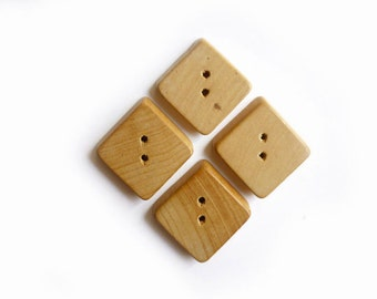4 Wooden Vintage Square Buttons, Brown, Wood
