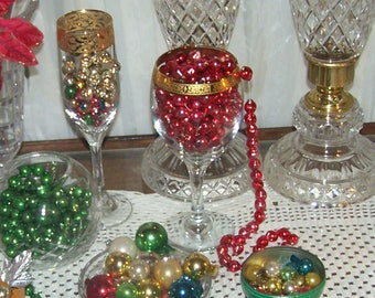 Glass Garland, Mercury Bead Christmas Tree Garland, RED, Mini Christmas Ball Ornaments - R23