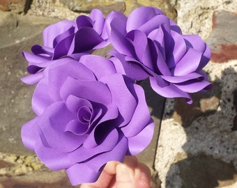 3 x Dark Purple Roses, Handmade Paper Flowers, Table Decorations, Wedding Flowers, Anniversary Gift x 3 Flowers