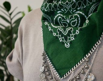 Green Bandana with Silver Chain and charms