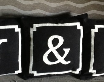 Gift for her, Monogram Pillows, Monogram Throw Pillows, Couple gifts, Black Monogram pillow Covers, Pillow Gifts, 18x18, Dorm Decor