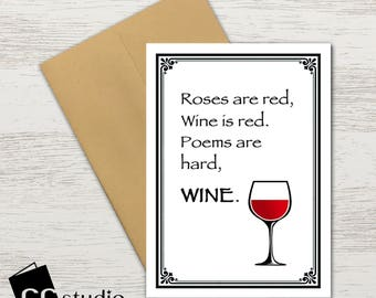 Wine Poem Lovers Roses Are Red Wedding Cards Birthday Card