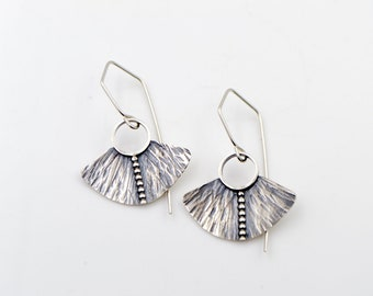 Beaded Hammered Shield Sterling Silver Earrings