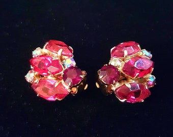 Vintage red iridescent aurora borealis ab rhinestone clip on earrings - antique jewelry, Christmas holiday, wedding, bridal, unique gift