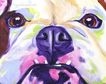 Bulldog, Pet Portrait, DawgArt, Dog Art, Pet Portrait Artist, Colorful Pet Portrait, Bulldog Art, Pet Portrait Painting, Art Prints