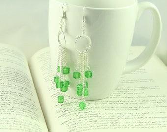 Silver & glass waterfall earrings