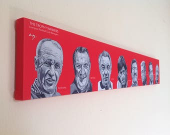 LIVERPOOL FC wall art - giclee printed canvas of 'The Trophy Winners' paintings by Liverpool artist Stephen Mahoney - LFC winning managers