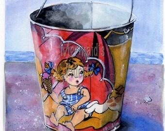 Sand Pail Watercolor - Vintage sand pail fine art print, beach pail, sand toy,  girl at beach
