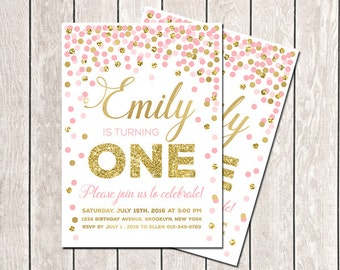 First Birthday Invitation Girl Birthday Invitation Pink Gold Glitter Confetti Invitation Printable Birthday Invitation Gold Pink Invitation