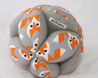 Baby Grab Ball (soft puzzle Amish ball) perfect unique baby present. Fox & grey.