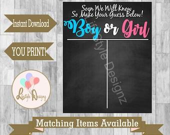 Gender Reveal Voting Board - Gender Reveal Party - Boy Or Girl - Gender Reveal Games - Baby Shower Decor - Pink or Blue - Instant Download