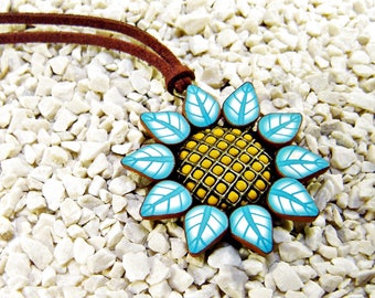Polymer clay pendant: Sunflower pendant, Floral pendant, Polymer clay jewelry. Gift for her, Gift woman