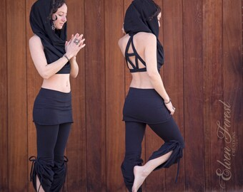 Equilateral Triangle ~ Cowl Hood Crop Top~ Faery Top, Goa top, Festival top, Cowl neck, Gypsy top, festival clothing