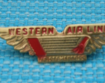 Vintage 1950's Western Airlines Metal Jr. Stewardess Wings, Collectible Pin, Brooch, Airline Collectible