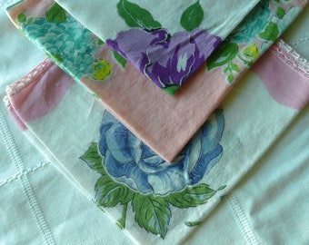 Vintage Hanky Lot, 3, Floral Designs