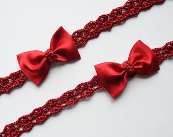 Red Bow Headbands For Mommy And Me, Mommy Baby Headband Set, Mother Daughter Matching Bow Headbands, Red Mommy and Me Christmas Headbands