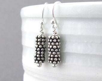 Sterling Silver Dangle Earrings Silver Drop Earrings Silver Bead Earrings Handmade Jewelry Everyday Jewelry Modern Jewelry Gift for Her
