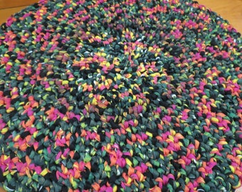 Crocheted Rag Rug Re-cycled T-Shirt Material  23 inches