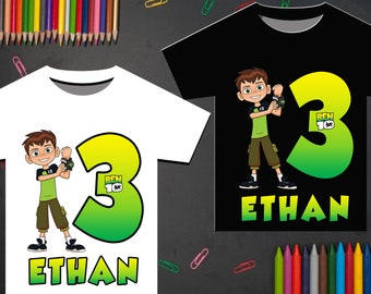 Ben 10 Birthday Shirt Party Iron On Transfer Printable Boy Personalize Name Digital File