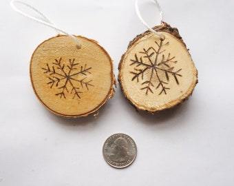 Wood burned snowflake ornaments set of two, wood slice snowflake ornaments, rustic snowflake ornament, wood slice art, tree slice ornaments