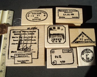 7 passport cancellation rubber stamps wood mounted or Unmounted for 2016 scrapbooking rubber stamping