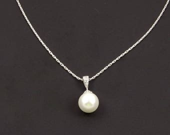 Pearl Drop Bridal Necklace for Wedding // Cubic Zirconia Jewelry // Bridal Party Gifts for Bridesmaids and Maid of Honor