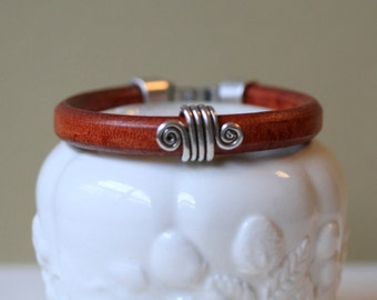 Unisex Thick  Leather and Silver Plated Tube Bead Bracelet With Hook Clasp Available in Three Colors