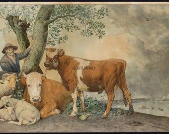 Primitive Vintage Barnyard Animals illustration, Farmhouse Wall Art download printable image