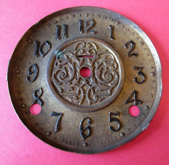 "1 Old and Worn Antique Solid Brass 5"" Clock Dial for your Clock Projects, Steampunk Art"