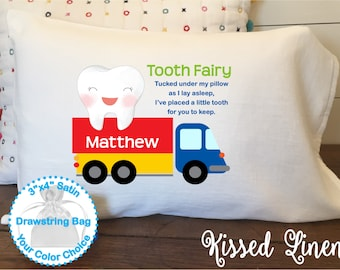 Personalized Tooth Fairy White Toddler Travel Pillowcase Soft 100% Cotton Flour Sack Fabric Boy Truck Transportation Tooth Fairy Pillow