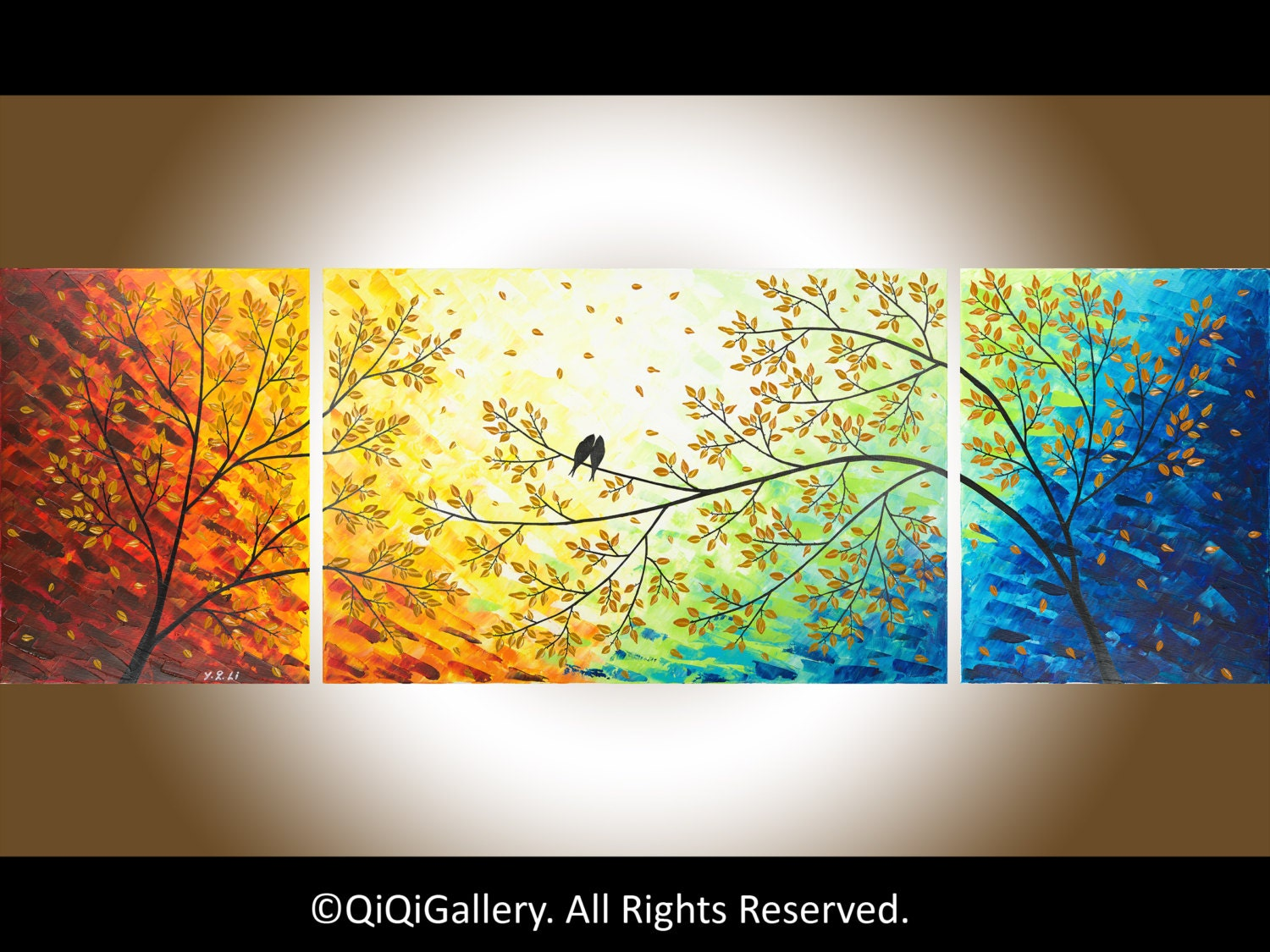 Large Wall art 72 Romantic love birds Painting on canvas