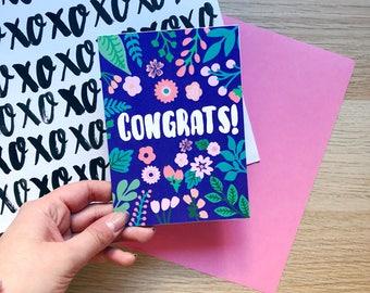 Congratulations Card, Congrats, Celebration, Engagement, New Job, New Home, Housewarming, Wedding, Graduation, Floral Card, Colourful Card