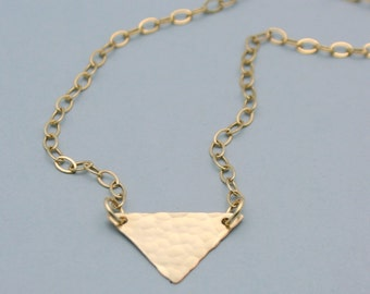 Gold Filled Hammered Triangle Necklace