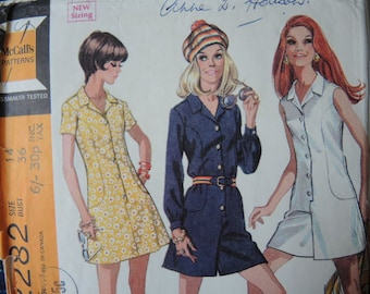 vintage 1970s McCalls sewing pattern 2282 misses dress or pantdress in two versions  size 14