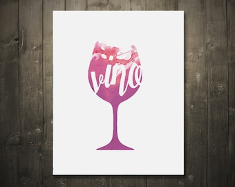 Vino Wine Glass Watercolor DIGITAL DOWNLOAD 8x10