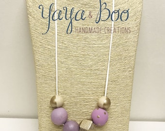 Purple & gold painted wooden bead necklace
