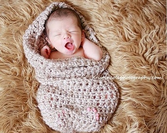 HAT Teddy Bear Cocoon Newborn Photo Prop in Browns, New Baby Photography Set, GIFT New Baby Newborns, Bear Hat and Cocoon Nest Baby Wrap Hat