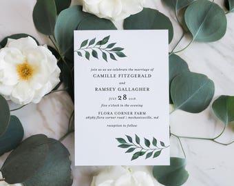 Printable Wedding Invitation Suite | Botanical Invitation | Laurel Leaf Invitation Set | Simple Wedding Invitation | Floral Wedding Invites