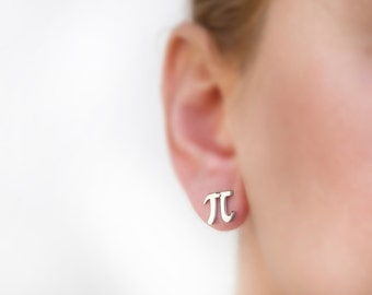 Pi earring, math earring, Greece jewelry, titanium, math jewelry, tiny earring stud, nerd, initial, letter, titanium earring geek, Pi symbol