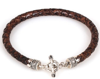 6mm Braided Leather Bracelet Sterling Silver 925 Toggle Handmade