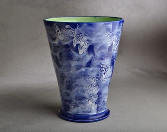Vase Ready To Ship Blue and White Vase by Symmetrical Pottery